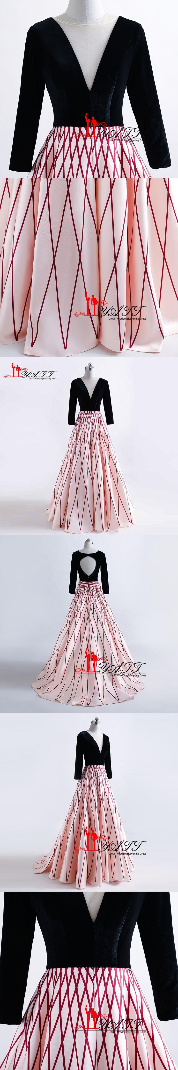 Long Sleeves Pattern Prom Dresses Printed Long Evening Party Dress V-Neck Evening Gowns Vestidos De Festa