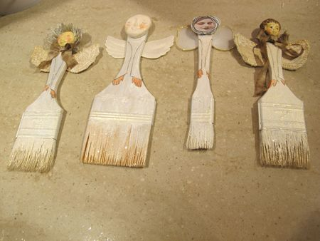 altered paint brushes made into angels