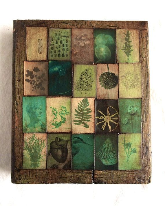 """Fern by FauneYerby on Etsy. """"My art is mixed media photography, and collage . As a Naturalist collect specimens for their studies and museums , I photograph my own collections as well as others. Using nineteenth-century photography techniques, and modern chemicals, I try to evoke the beauty of nature and a bygone time."""" Size- 7""""x8""""x1"""" collaged on re-claimed wood."""