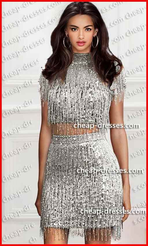 056a6aa293 Flashy high neck two piece short sequins fringe dress in 2019 in ...