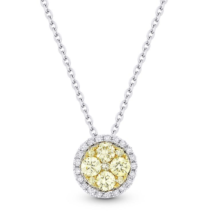 0.49ct Yellow & White Diamond Cluster Pendant in 18k Yellow & White Gold w/ 14k Chain Necklace - AM-DN5035 - AlfredAndVincent.com