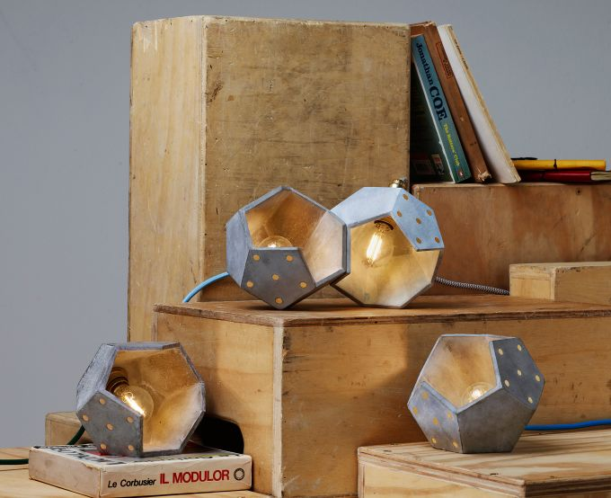 Basic TWELVE Magnetic Modular Lamps. Concrete + Brass