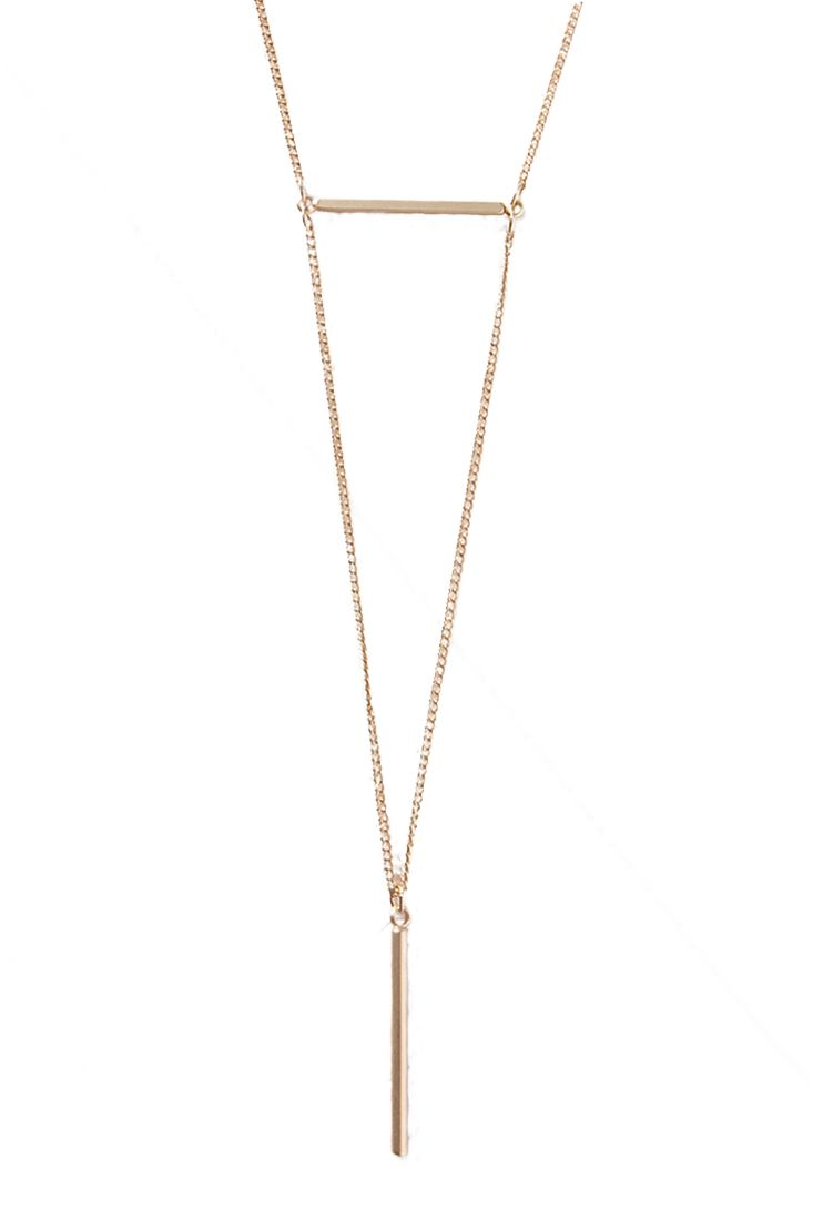 The necklace featuring curb chain. Vertical bar pendent. Adjustable clasp. Five pieces per lot.
