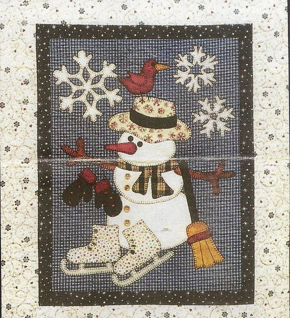 Fusible Applique Wall Hanging Pattern  Jolly Snowman from Farmhouseattic on etsy.ca