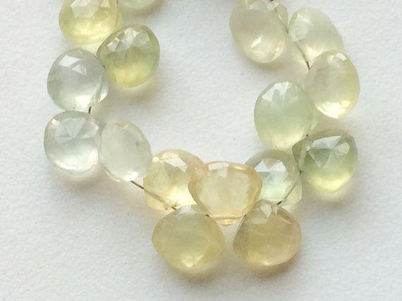 Prehnite Beads Prehnite Faceted Heart Beads by gemsforjewels