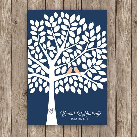 Wedding Guest Book Tree - Unique Guest Book Alternative in Navy and Peach for 125 Guests on Etsy, $54.00