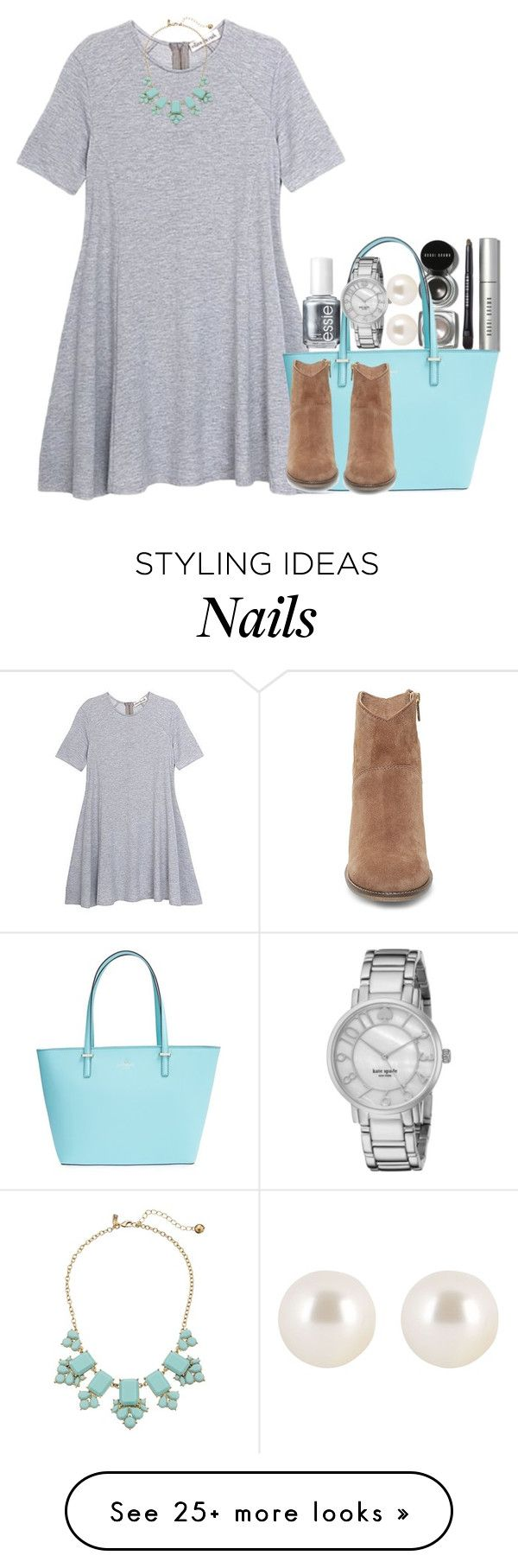 """""""never use makeup so here ya go!!!"""" by econgdon on Polyvore featuring Olive + Oak, Bobbi Brown Cosmetics, Kate Spade, Steve Madden, Henri Bendel and Essie"""