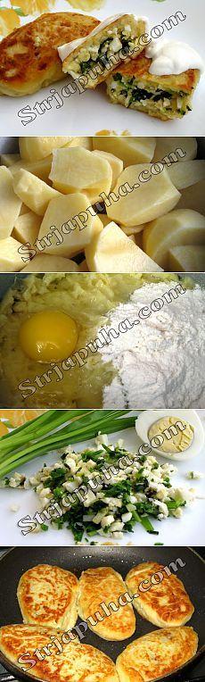 Картофельные пирожки с зеленым луком и яйцом