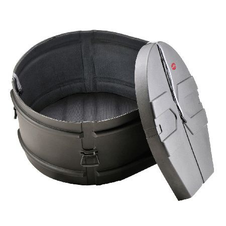 SKB 14 x 28 Marching Bass Drum Case with Padded The SKB 14 x 28 Marching Bass Drum Case is a revolutionary roto-molded D-shaped drum case with molded in feet for upright positioning and stability. Featuring sure grip handles with a 90deg