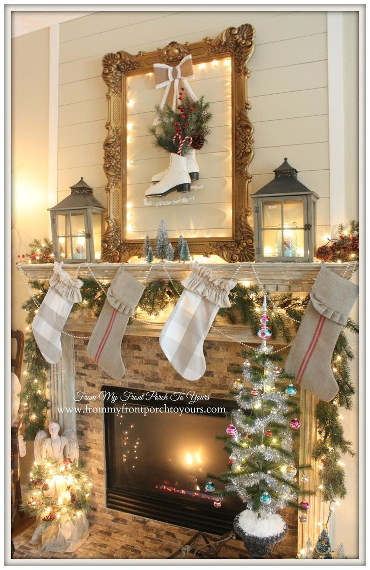 323 best christmas mantels images on pinterest christmas mantels