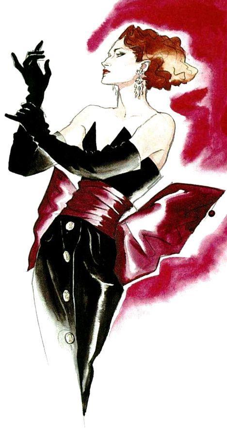 1983 Inter Style Paris ™ - Croquis d'Antonio Lopez Yves Saint Laurent,
