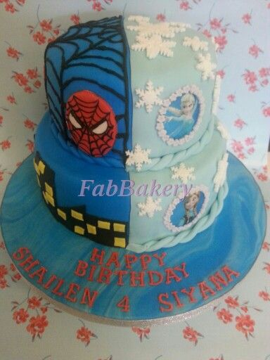 Spiderman And Frozen Cake Kids Cakes Twin Birthday