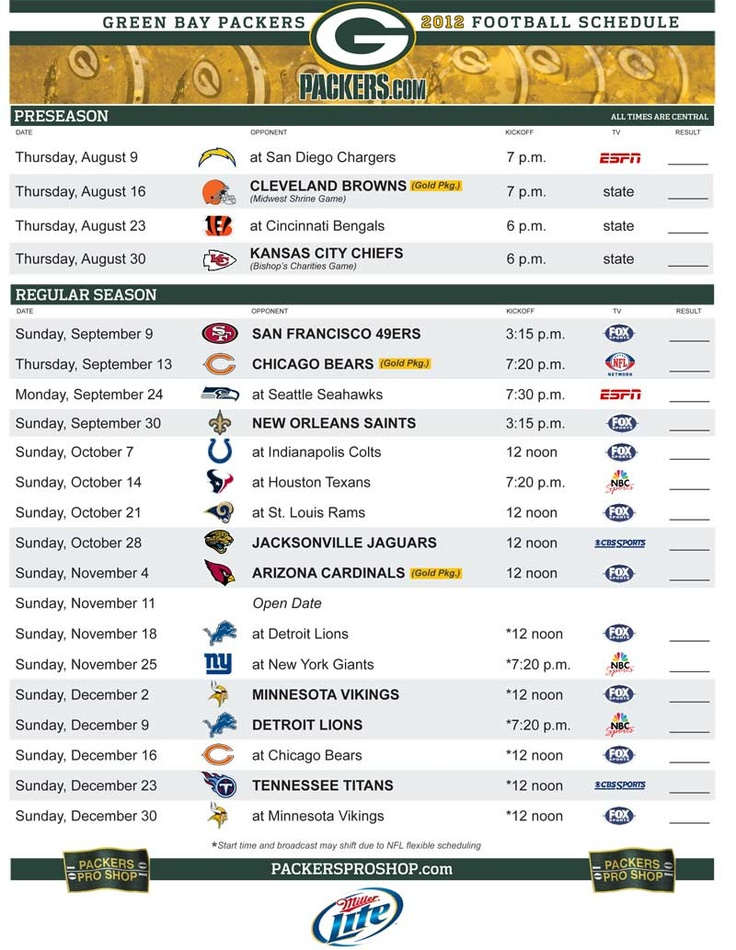 Green Bay Packers 2012 regular season schedule! Pretty excited about this season!