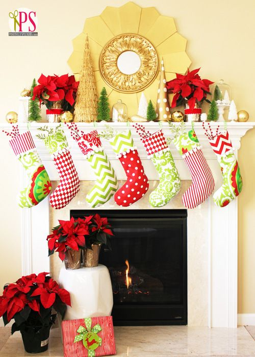 Red, Gold and Lime Christmas Mantel.