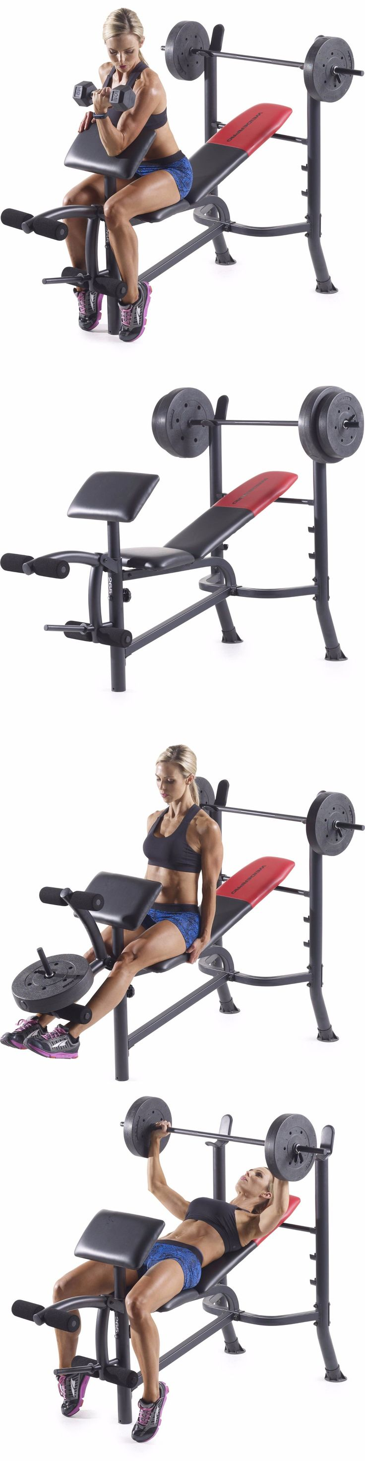 Bench Press Abs Part - 32: Benches 15281: Weider Pro 265 Standard Bench With 80 Lb Vinyl Weight Set  Workout Gym
