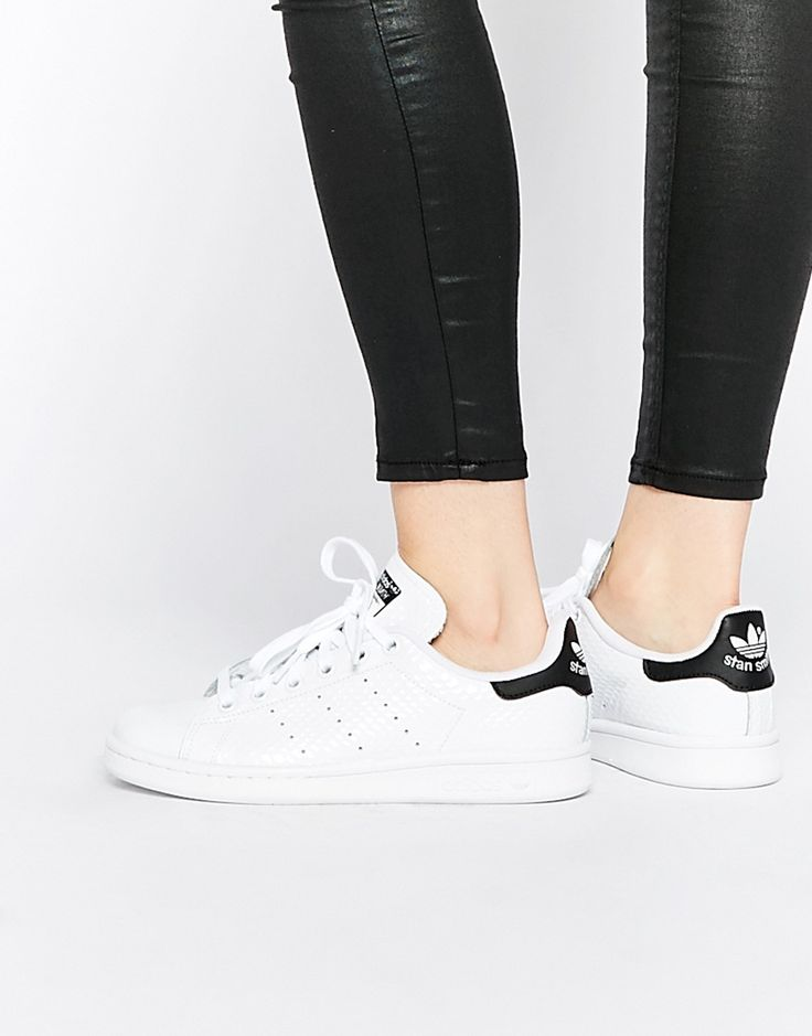 Image 1 of adidas Originals Stan Smith White & Black Sneakers