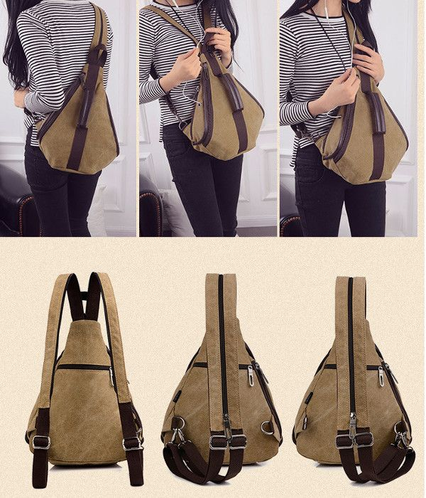 Women Canvas Multifunction Chest Bags Casual Shoulder Bags Backpack Rucksack