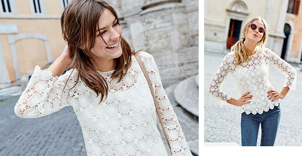 Amazing Boden lace top - and it looks as good on a size 12 body as it does on the model