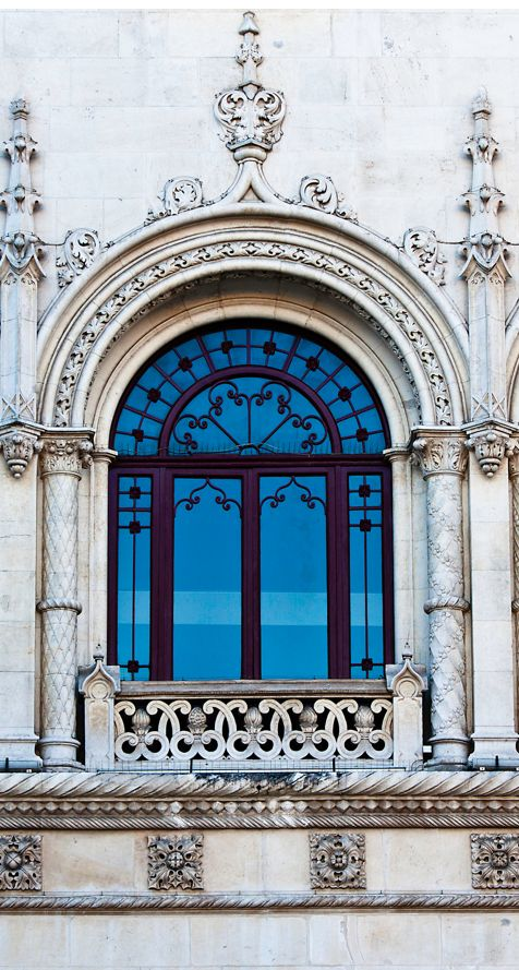 Window detail at Rossio Station Lisbon  Portugal