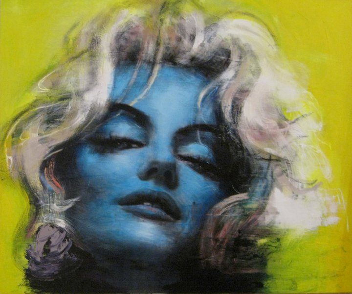 Why so blue? Marilyn with a blue face, bleach blonde hair, and a green background.