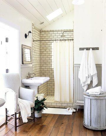 Cool: Modern Bathroom Design, Floors, Bathroom Interiors, Tile Shower, White Bathroom, White Subway Tile, Bathroom Ideas, House, Design Bathroom