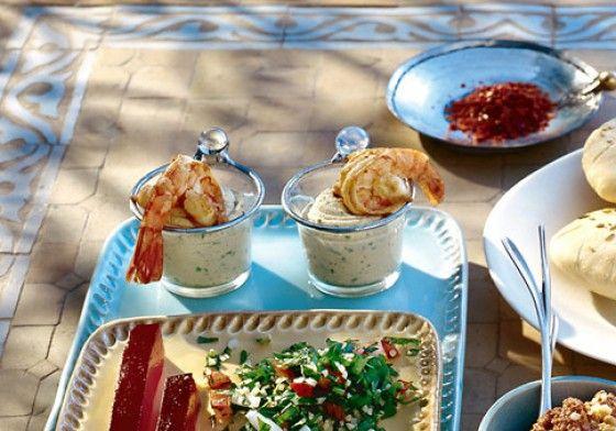 Koriander-Hummus mit Garnelen - Rezepte: Mezze - 19 - [ESSEN & TRINKEN]
