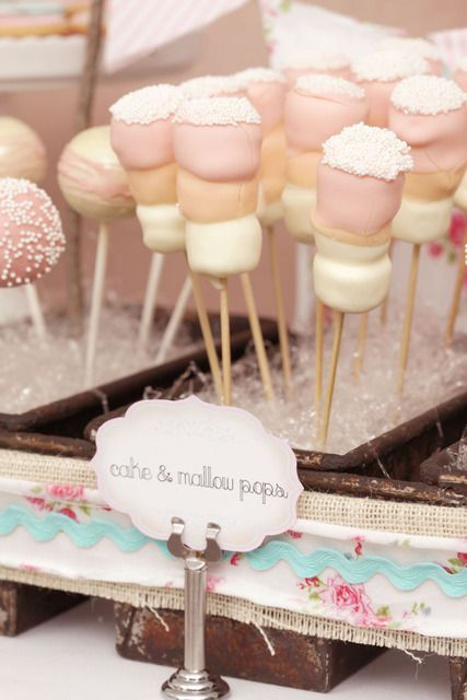 Marshmallow Pops at a Bridal Shower @Kelcey Hardy it would be so fun to make these and then Chace could eat them!