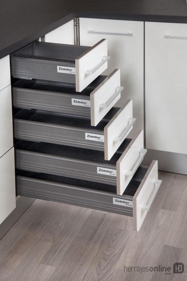 Rieles extraibles y organizadores con sistema silencioso para muebles de cocina herrajes - Herrajes para muebles cocina ...