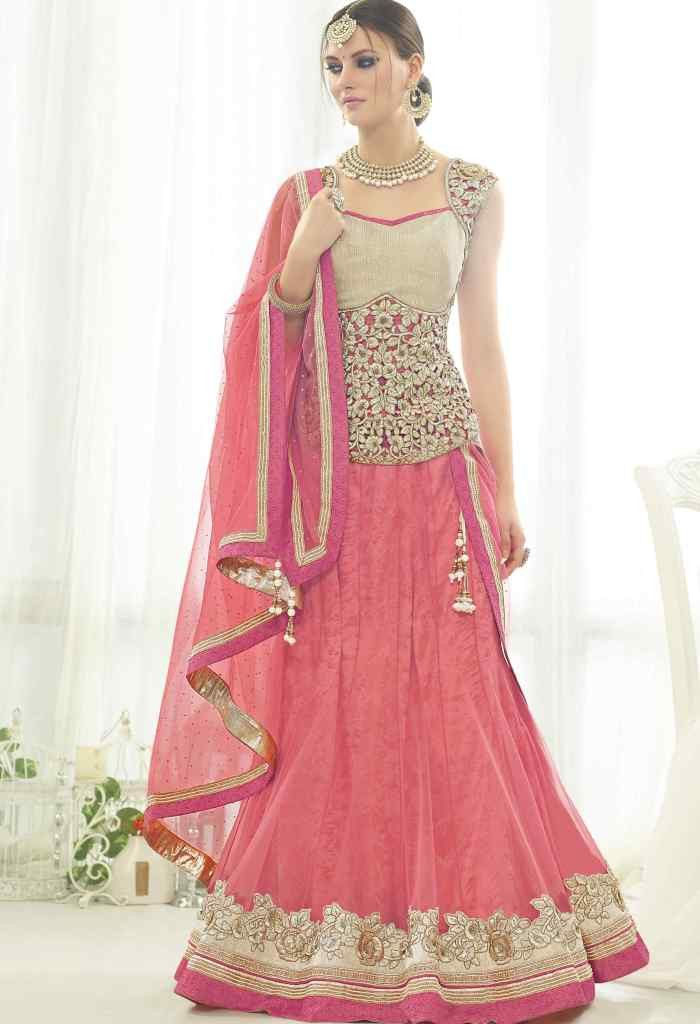 Pink Net Designer Lehenga 6810