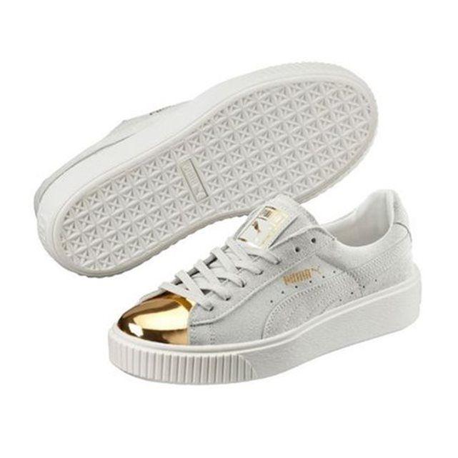 basket puma blanche et or