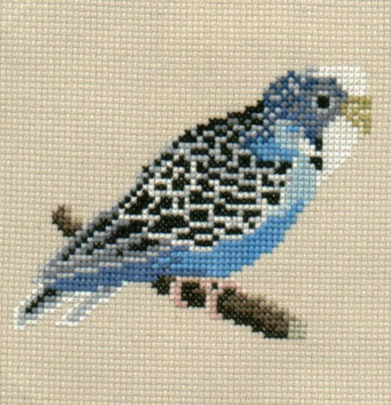 Blue Budgie counted cross-stitch design by 5PrickedFinger5 on Etsy