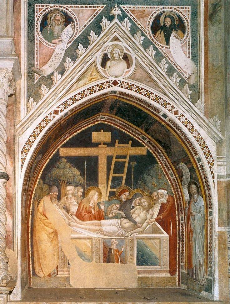 Santa Croce, Florence.  Фрески капеллы Барди ди Вернио в церкви Санта Кроче. Таддео Гадди и Мазо ди Банко. Положение во гроб.
