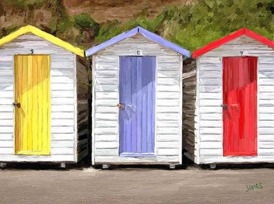painting of beach huts