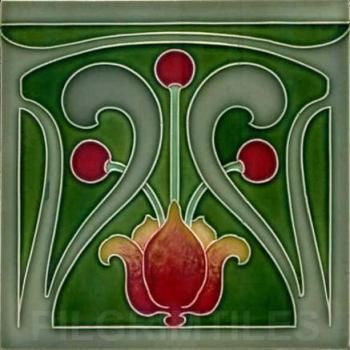 arts+and+craft+style+tile+red | Very Stylised Art Nouveau / Arts & Crafts Ceramic Tile ref 014