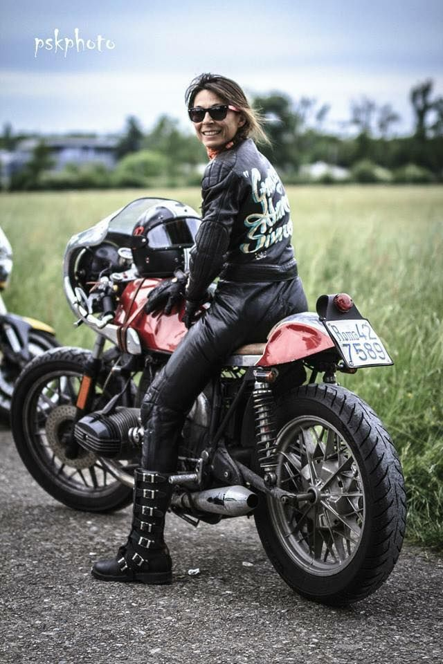Big tit woman on motorcycle