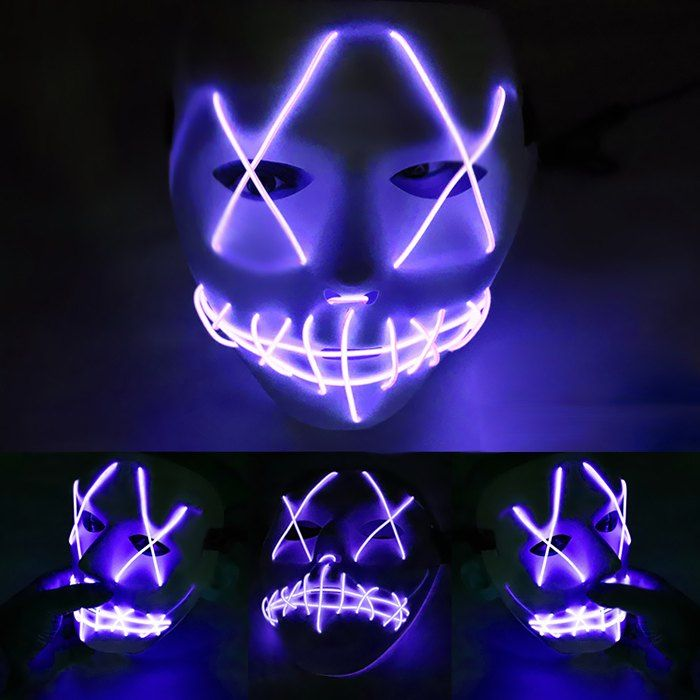 Led Grimace Scary Halloween Glowing Carnival Mask Ad Sponsored Scary Grimace Led Halloween Mask Costume Party Halloween Club Glow Mask