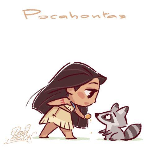 Chibies of Disney's Pocahontas & Meeko , Mulan & Cri-Kee and Jane & Baby Baboon. https://www.facebook.com/artofdavidgilson/
