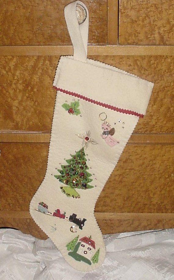 White Applique Christmas Stocking