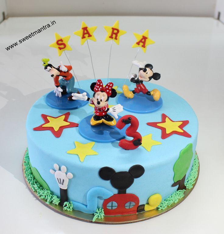 Homemade Eggless 3D/Custom Disney Minnie club house theme 3rd birthday cake for girl at Sinhagad Road, Pune