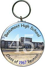 Class Reunion Favors - key chains featuring a picture of your old high school, personalized with your school name and graduating year are unique reunion souvenirs.