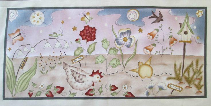 Zahradní panel Bavlněný zahraniční panel s jarním zahradním motivem o velikosti 52 x 23,5 cm + přídavky na švy. V nabídce mám i jiné z této kolekce.