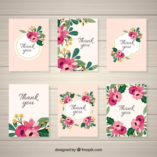 Pack of elegant vintage flowers card Free Vector