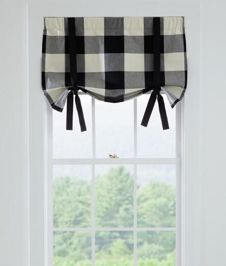 Winslow Buffalo Check Tie-Up Valance in black from Country Curtains - we love this bold check and simple approach to window dressing.