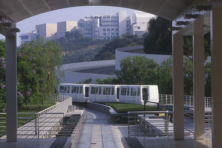 The tram at the Getty Center carries visitors from the parking garage to the top of the hill.