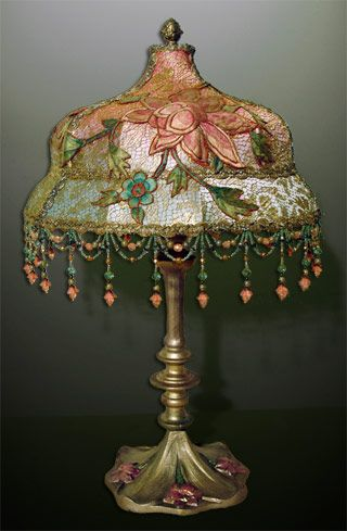 ~ Beautiful Lamp With Gold Metallic Lace & Embroidered Applique ~ (1920's)