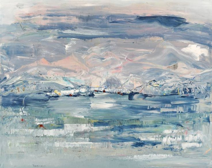 Buy JB951, a Acrylic on Canvas by Radek Smach from Czech Republic. It portrays: Landscape, relevant to: pink, positive, sky, snow, blue, winter, energy, abstract, ice, lake, landscape, mountains Original abstract painting on canvas.  Ready to hang. No framing required (it can be framed). The sides of the painting are painted. Signed on the back