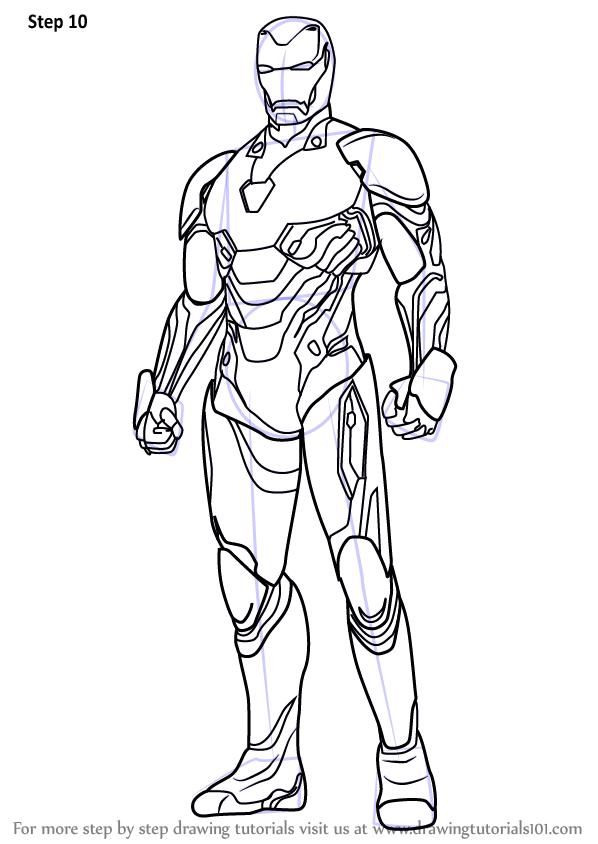 Step By Step How To Draw Iron Man From Avengers Infinity War Drawingtutorials101 Com In 2020 Iron Man Drawing Iron Man Pictures Iron Man Art