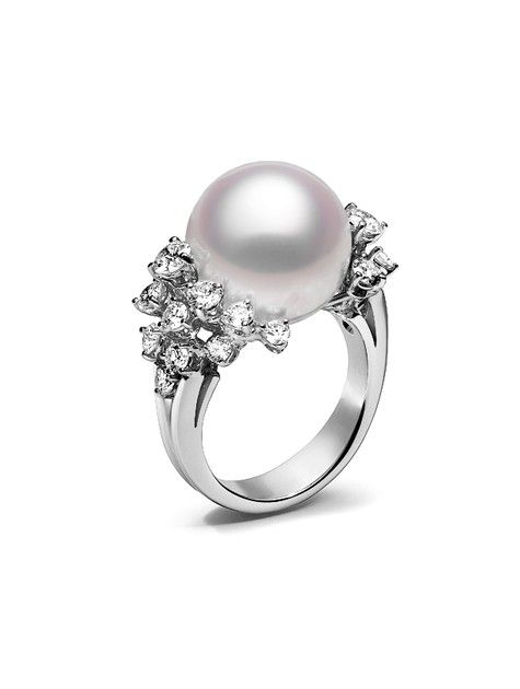 Fine Jewelry White & Dyed Black Cultured Freshwater Pearl and Diamond Accent Ring 8GvWx3XcRh
