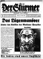 """Figure 33 – Front page illustration from a 1936 issue of Der Stürmer, an anti-Semitic German newspaper.  The bottom headline says """"Jews are our misfortune."""" ___________>>>> In:  The Veterans of History: A Young Person's History of the Jews,  available at: http://www.amazon.com/Veterans-History-Young-Persons-Jews/dp/061595734X/ref=sr_1_1?ie=UTF8&qid=1422940473&sr=8-1&keywords=veterans+of+history"""