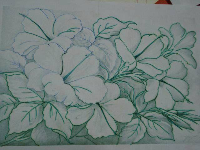 Hibiscos riscos e desenhos para pintura em tela pesquisa - Pinturas para pintar tela ...